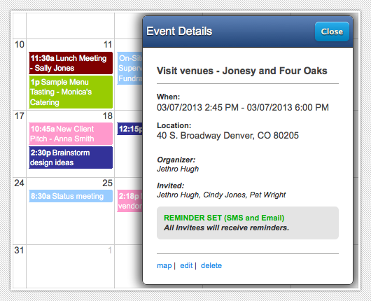 Electronic Calendar Planner : Electronic calendar for event and wedding planners